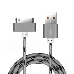 Кабель PZOZ USB - Apple 30pin (1 м, серый)